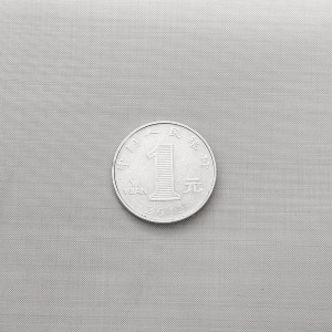 One Yuan Coin on Top of the Woven Mesh