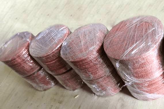 Cut Into Copper Mesh Pieces