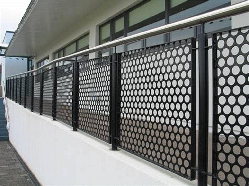 Black Round Hole Perforated Metal Balcony Railing Panel